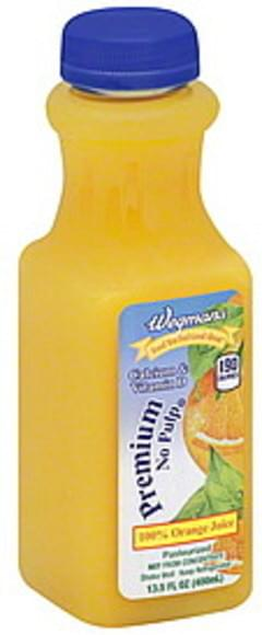 Wegmans 100% Juice Orange, Premium, No Pulp