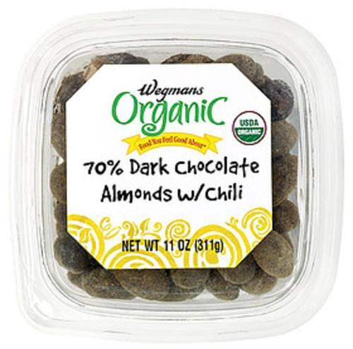 Wegmans 70% Dark Chocolate Almonds with Chili Chocolate - 11 oz