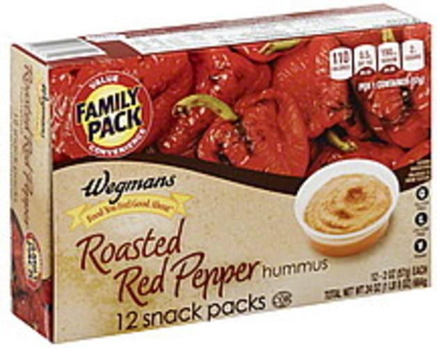 Wegmans Roasted Red Pepper, Snack Packs, FAMILY PACK Hummus - 12 ea