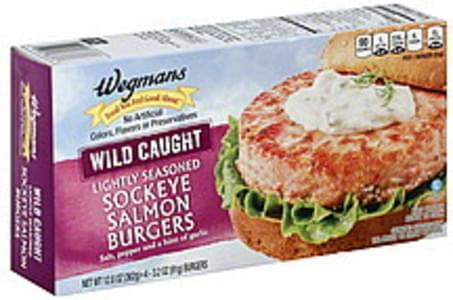 Wegmans Burgers Sockeye Salmon, Lightly Seasoned, Wild Caught
