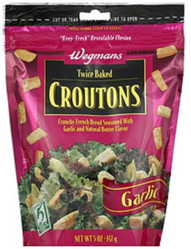 Wegmans Twice Baked, Garlic Croutons - 5 oz
