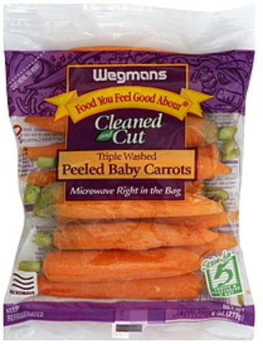 Wegmans Peeled Baby, Tripled Washed, Cleaned and Cut Carrots - 8 oz