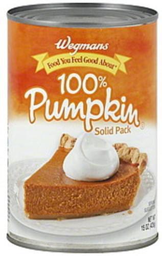 Wegmans 100%, Solid Pack Pumpkin - 15 oz