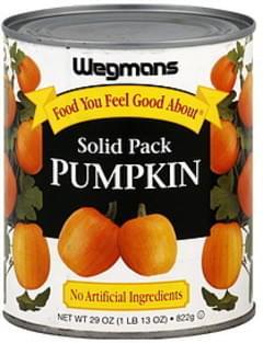 Wegmans Pumpkin 100%, Solid Pack