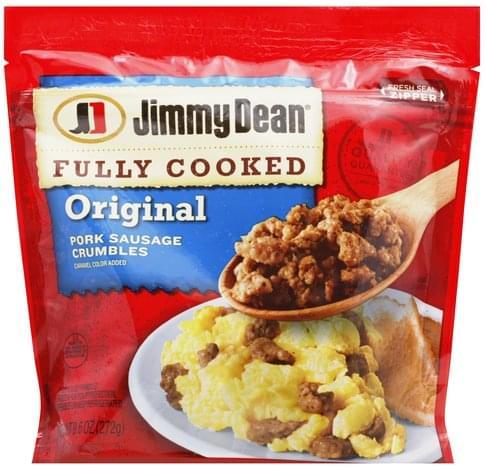 Jimmy Dean Pork, Crumbles, Original Sausage - 9 6 oz