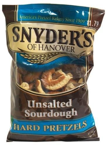 Snyders Unsalted Sourdough Hard Pretzels - 9 25 oz, Nutrition