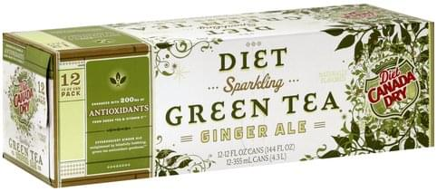 Canada Dry Sparkling Green Tea, Diet Ginger Ale - 12 ea