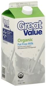 Great Value Milk Fat Free, Organic