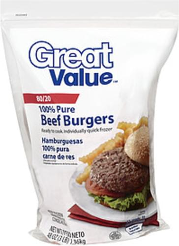Great Value 80/20 100% Pure Beef Burgers - 48 oz