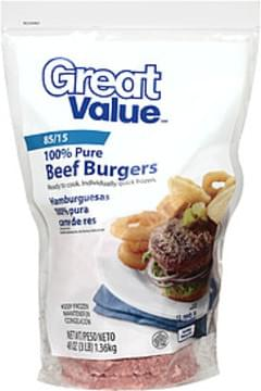Great Value Beef Burgers 85/15 100% Pure