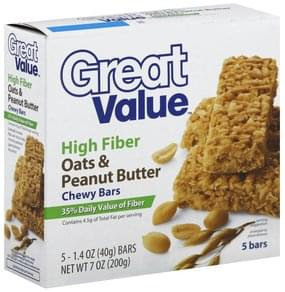 Great Value Chewy Bars High Fiber, Oats & Peanut Butter