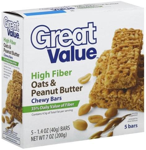Great Value High Fiber, Oats & Peanut Butter Chewy Bars - 5 ea