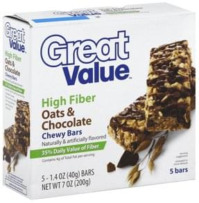 Great Value Chewy Bars High Fiber, Oats & Chocolate