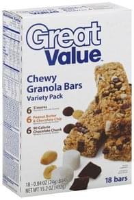 Great Value Granola Bars Chewy, Variety Pack