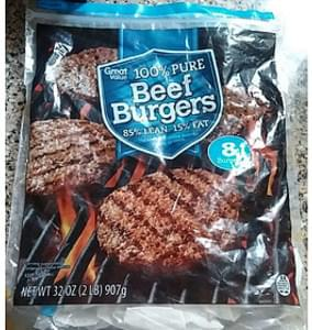 Great Value Burgers Beef