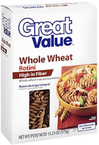 Great Value Whole Wheat Rotini - 13.25 oz