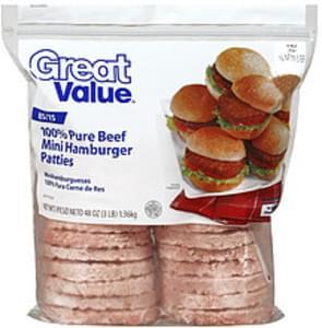 Great Value Patties 24 Beef Mini Hamburger