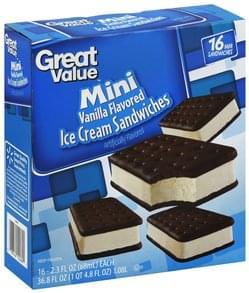 Great Value Ice Cream Sandwiches Mini, Vanilla Flavored