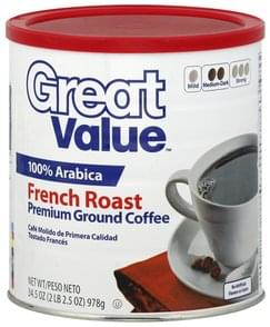 Great Value Coffee Premium, Ground, Medium Dark, French Roast