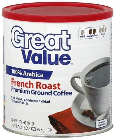 Great Value Premium, Ground, Medium Dark, French Roast Coffee - 34.5 oz