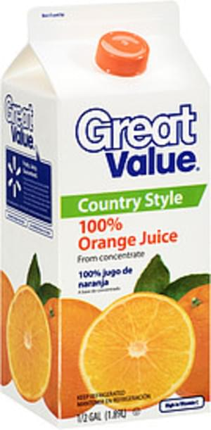 Great Value Country Style 100% Orange Juice from Concentrate - 0.5 Gal