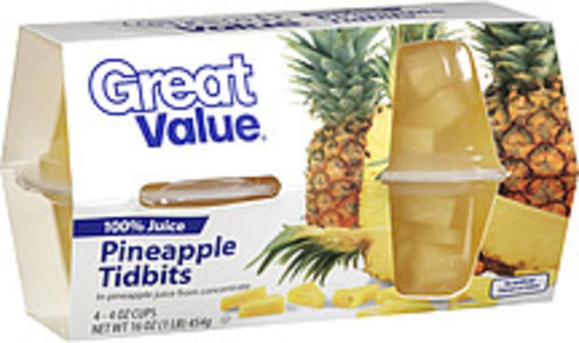 Great Value Tidbits 4 Oz Cups Pineapple - 4
