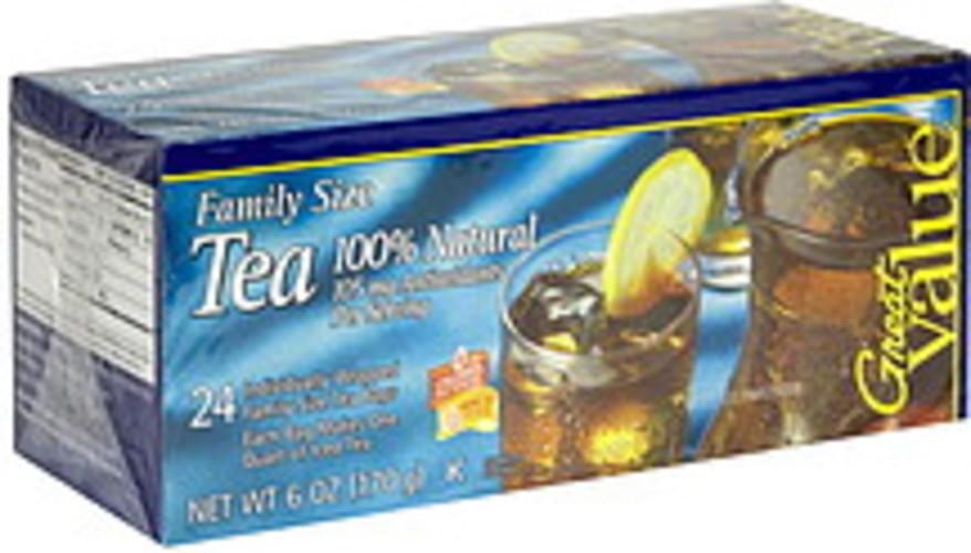 Great Value 100% Natural, Family Size Tea - 24 ea