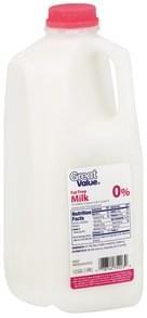 Great Value Milk Fat Free, 0% Milkfat