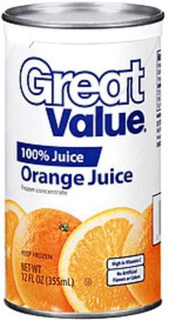 Great Value Juice 100% Orange