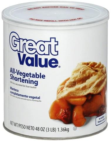 Great Value All-Vegetable Shortening - 48 oz
