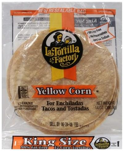 La Tortilla Factory Yellow Corn, King Size Tortillas - 12 ea