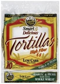 La Tortilla Factory Tortillas Gourmet, Low Carb, Whole Wheat, Garlic & Herb