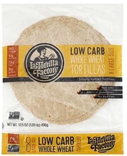 La Tortilla Factory Gourmet, Low Carb, Whole Wheat, Large Tortillas - 8 ea