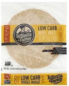 La Tortilla Factory Tortillas Gourmet, Low Carb, Whole Wheat, Large