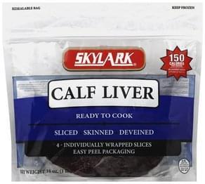 Skylark Calf Liver Skinned, Deveined, Sliced