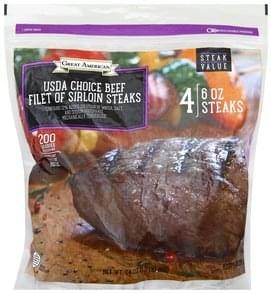 Great American Steaks USDA Choice Beef, Filet of Sirloin