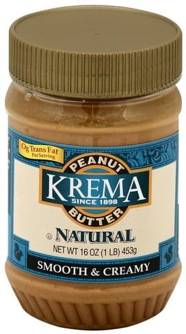 Krema Smooth & Creamy Peanut Butter - 16 oz