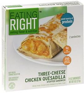 Eating Right Stuffed Sandwich Three-Cheese Chicken Quesadilla