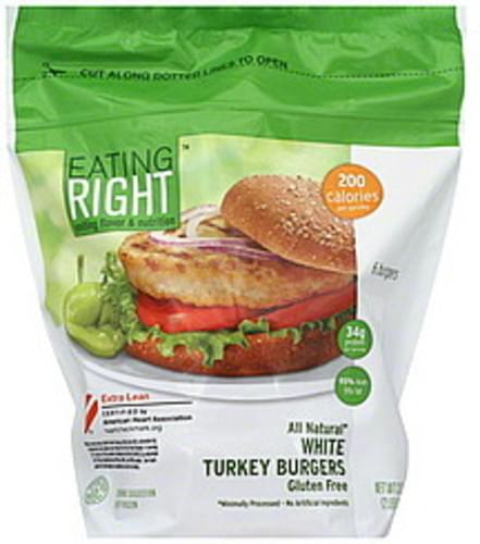 Eating Right White Turkey, Extra Lean Burgers - 6 ea