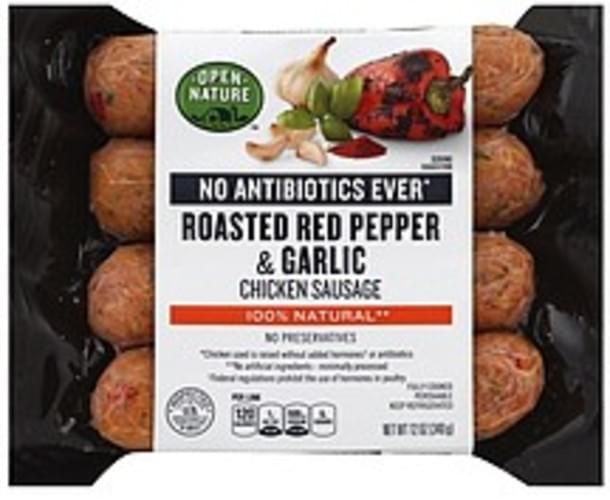 Open Nature Chicken, Roasted Red Pepper & Garlic Sausage - 12 oz