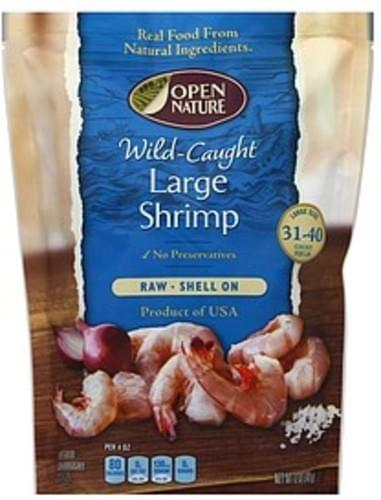 Open Nature Raw, Wild-Caught, Shell On, Large Shrimp - 12 oz