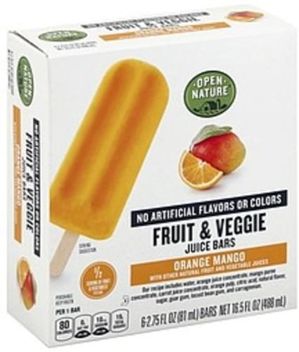 Open Nature Orange Mango Fruit & Veggie Juice Bars - 6 ea