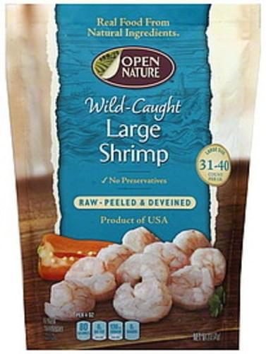 Open Nature Raw, Wild-Caught, Peeled & Deveined, Large Shrimp - 12 oz