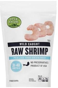 Open Nature Shrimp Raw, Wild Caught, Peeled and Deveined