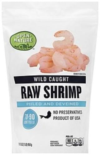 Open Nature Raw, Wild Caught, Peeled and Deveined Shrimp - 16 oz