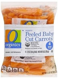 O Organics Carrots Cut, Baby Peeled, 4 Snack Packs
