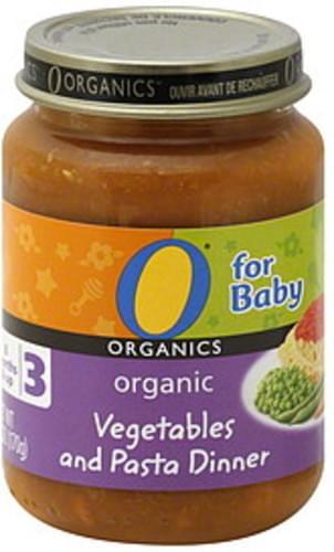 O Organics Organic, 3 (8 Months & Up) Vegetables and Pasta Dinner - 6 oz