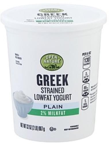 Open Nature Greek, Lowfat, Plain, Strained Yogurt - 32 oz