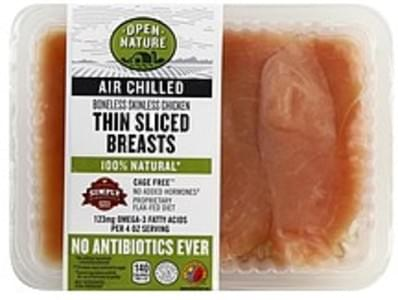 Open Nature Chicken Breasts Boneless & Skinless, Thin Sliced