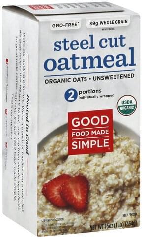 Good Food Made Simple Organic, Unsweetened, Steel Cut Oatmeal - 16 oz
